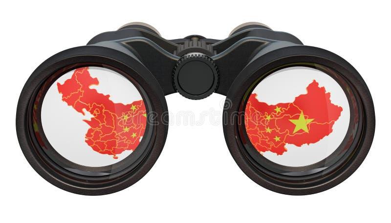 Spionage i det Kina begreppet, tolkning 3D vektor illustrationer