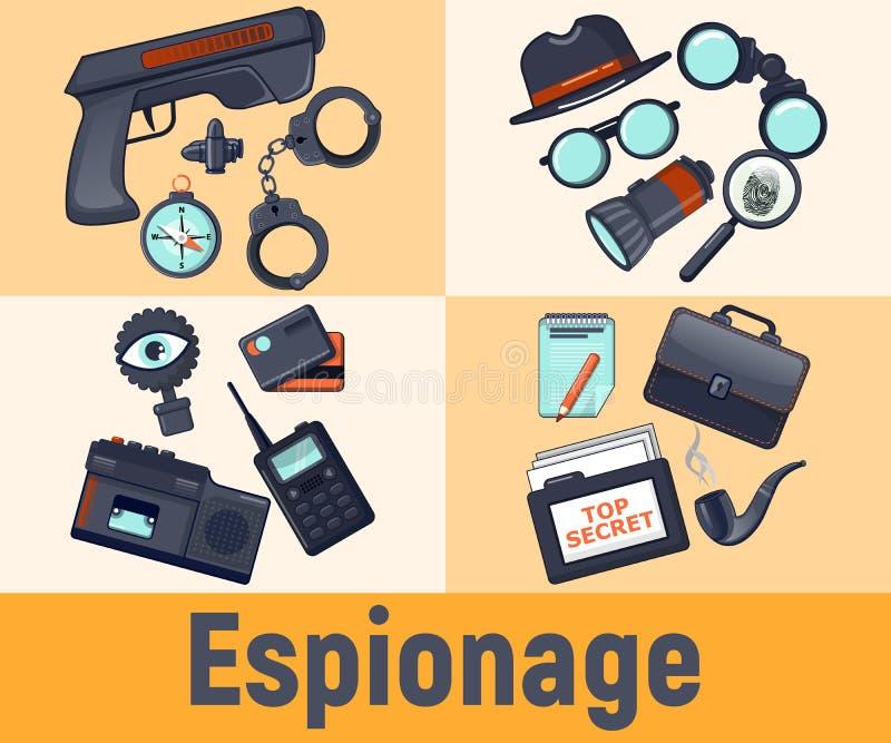 Spionagebegreppsbaner, tecknad filmstil vektor illustrationer
