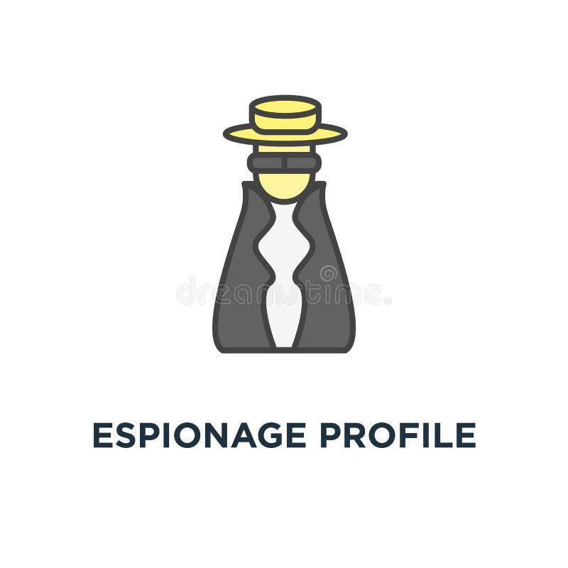 Spionageprofilikone anonym mit Maske, Forscher, Detektivcharakter im netten Hut, Konzeptsymbolentwurf nachspürend, lizenzfreie abbildung