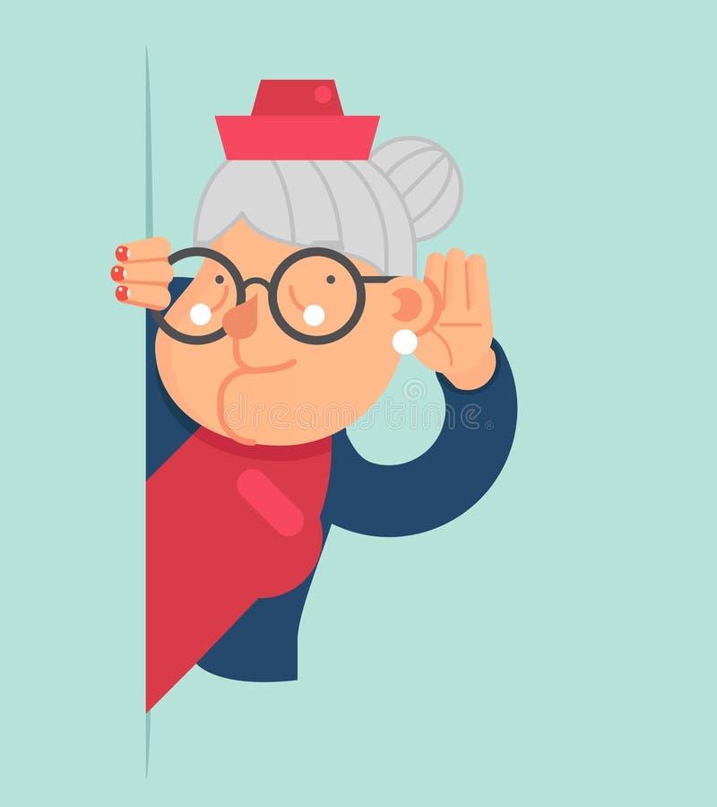 Spionen för den gamla damen Gossip Listen Overhear ut tränga någon den vuxna illustrationen för vektorn för designen för lägenhet royaltyfri illustrationer