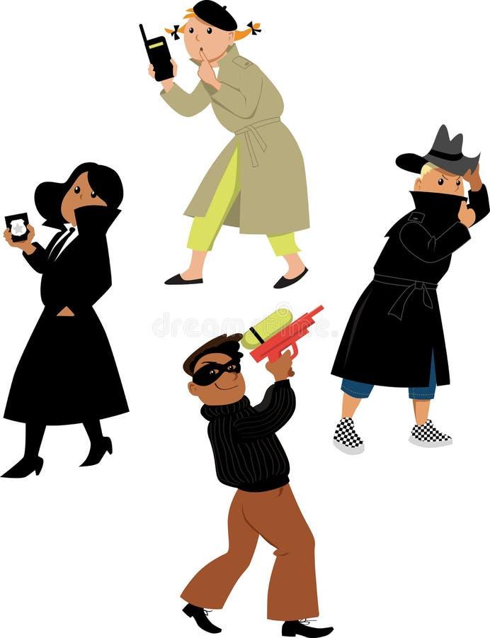 Spionen lurar tecken stock illustrationer
