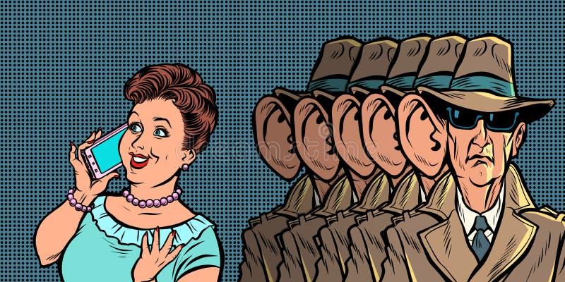 Spioner som tjuvlyssnar kvinnor f?r en telefonkonversation stock illustrationer