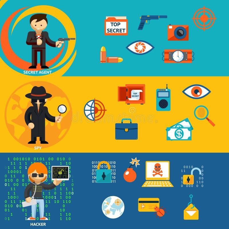Spionera, det hemliga medlet och cyberen hackertecken vektor illustrationer