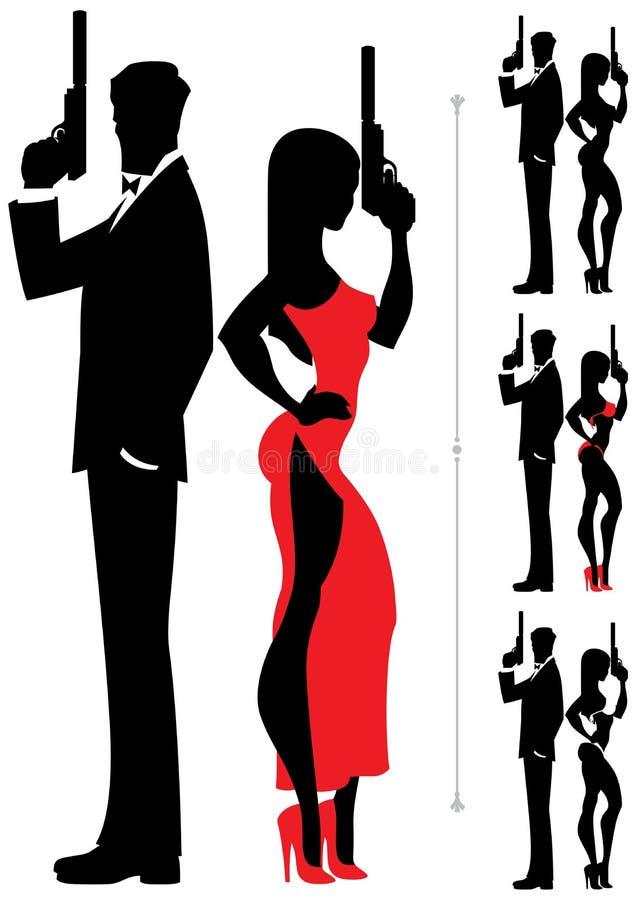 Spionpaar 2 vector illustratie