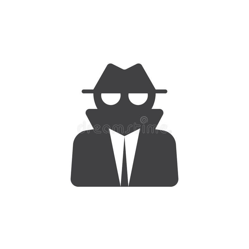Spionpictogram, illustratie van het dief de stevige embleem, pictogram isolat royalty-vrije illustratie
