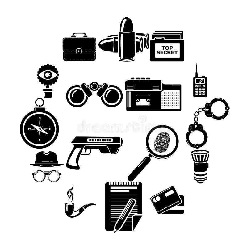 Spionsymbolsuppsättning, enkel stil stock illustrationer