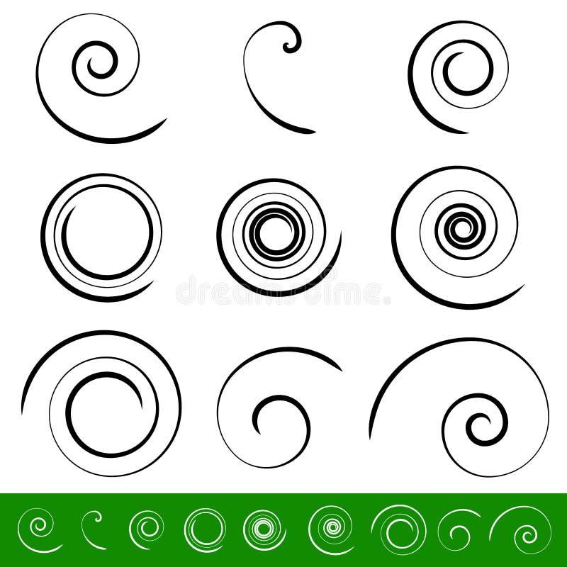 Spiraal, de reeks van het draaikolkelement 9 verschillende cirkelvormen spiraal royalty-vrije illustratie