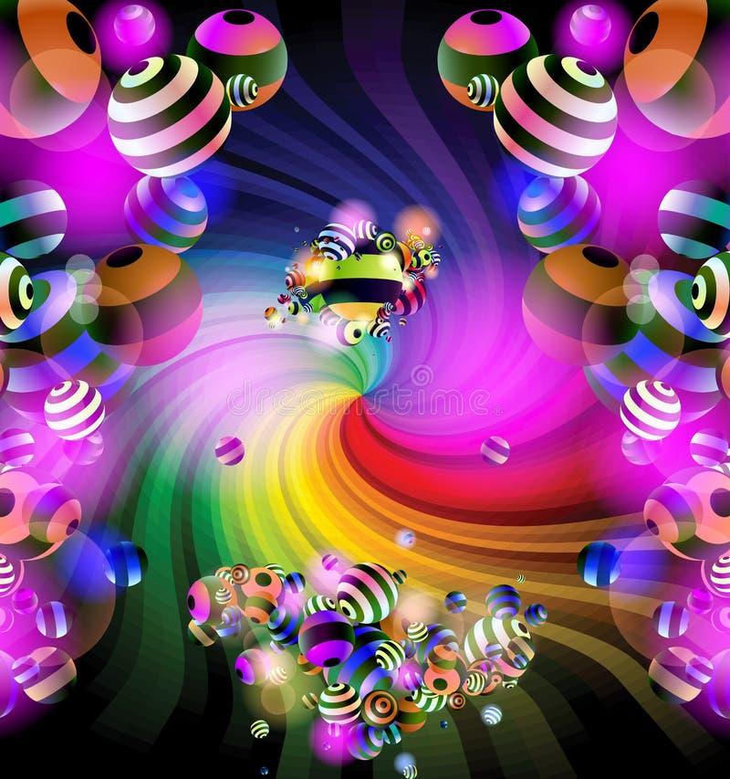 Spiraal en ballen vector illustratie