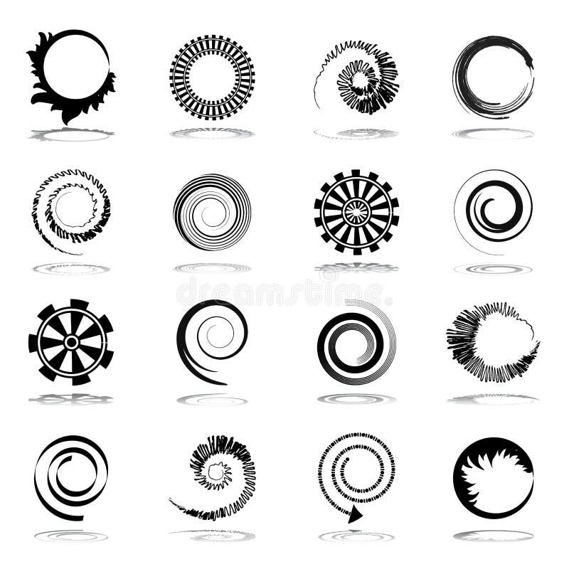Spiraal en omwentelingsontwerpelementen. royalty-vrije illustratie