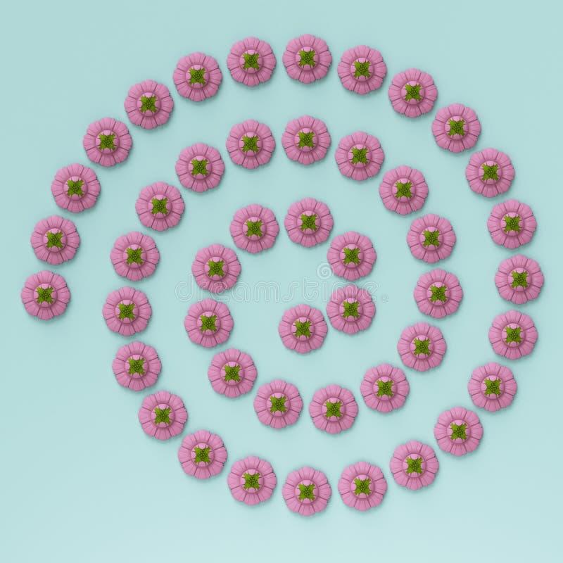 Spiraal ornamnet die van violette bloemen op blauwe achtergrond wordt gemaakt vector illustratie