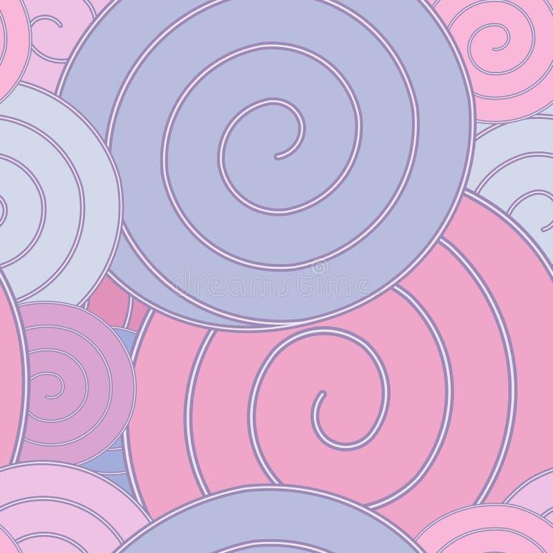 Spiraal, pastelkleur naadloos patroon stock illustratie