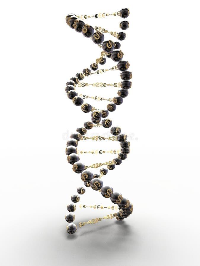 Spiraal van DNA met de symbolen van de dollar en royalty-vrije stock afbeeldingen