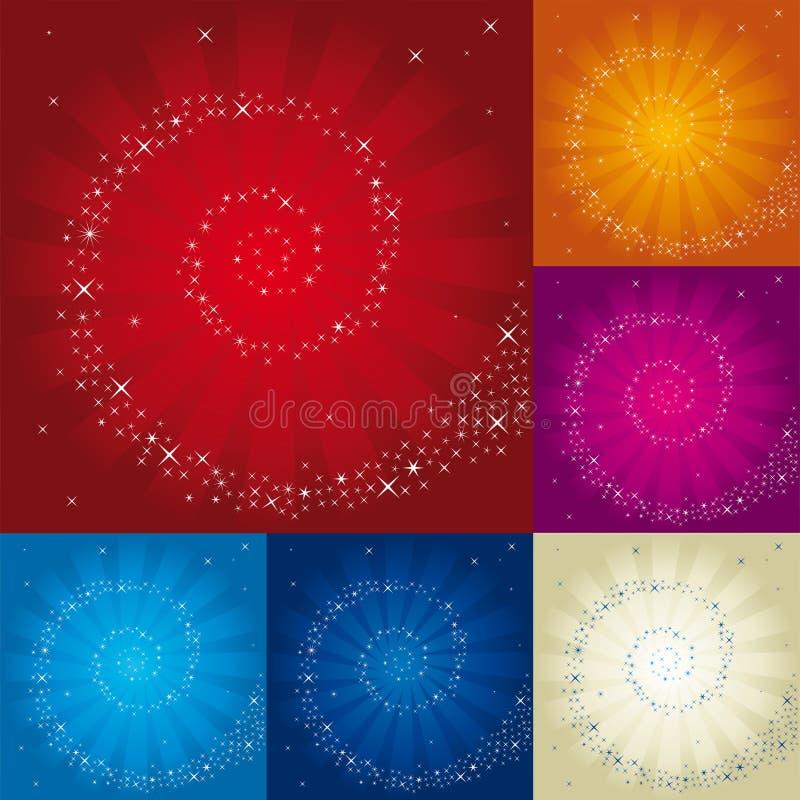Spiraal van sterren over de verschillende achtergrond van de kleurenbliksem royalty-vrije illustratie