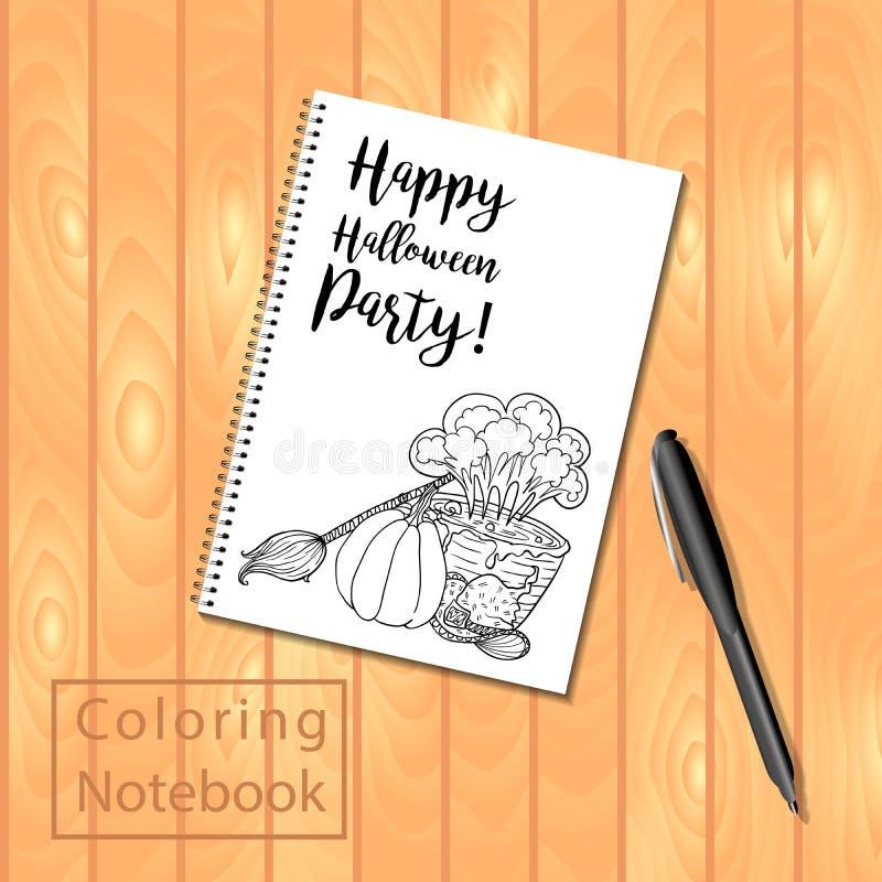Spiraal - verbindende blocnote of kleurend boek met potloden en Halloween-beeld royalty-vrije illustratie
