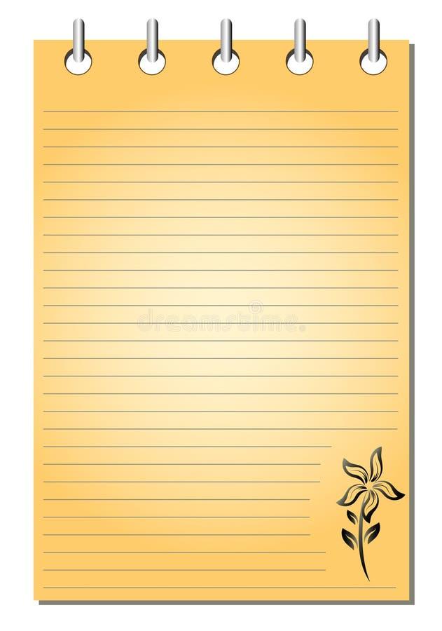 Spiraal - verbindende lege oranje blocnote stock illustratie