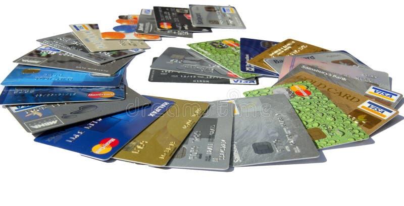 Spiraalsgewijs bewegende Creditcardschuld stock afbeelding