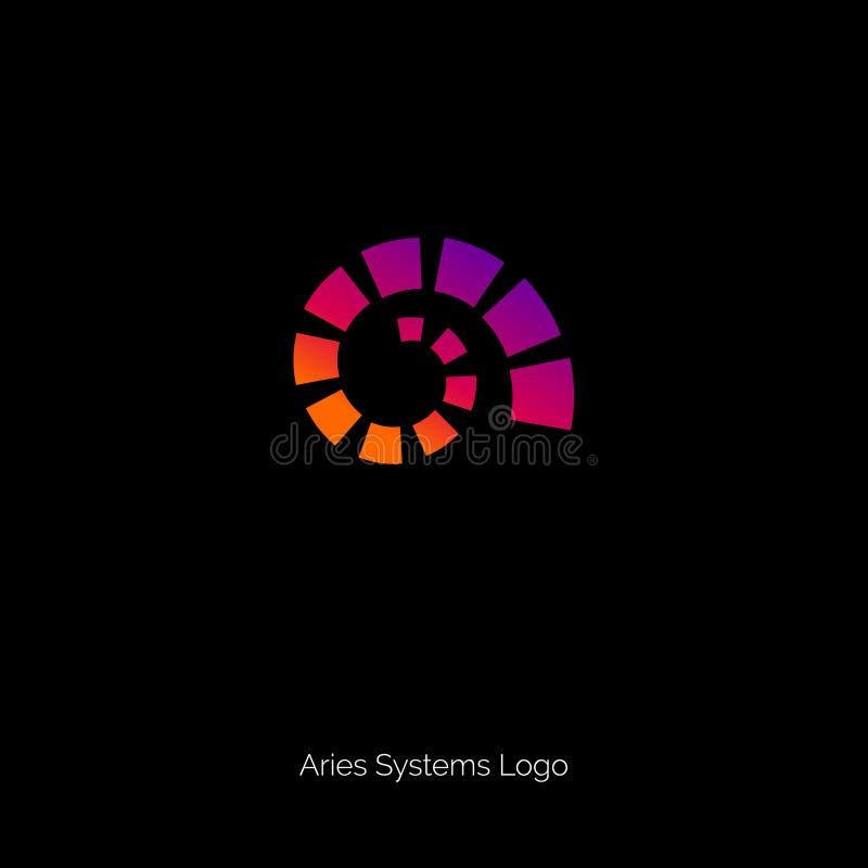Spiraalvormig Embleem De Ram verzinnebeeldt dierenriemsymbool Gradiëntschroef op een donkere achtergrond vector illustratie
