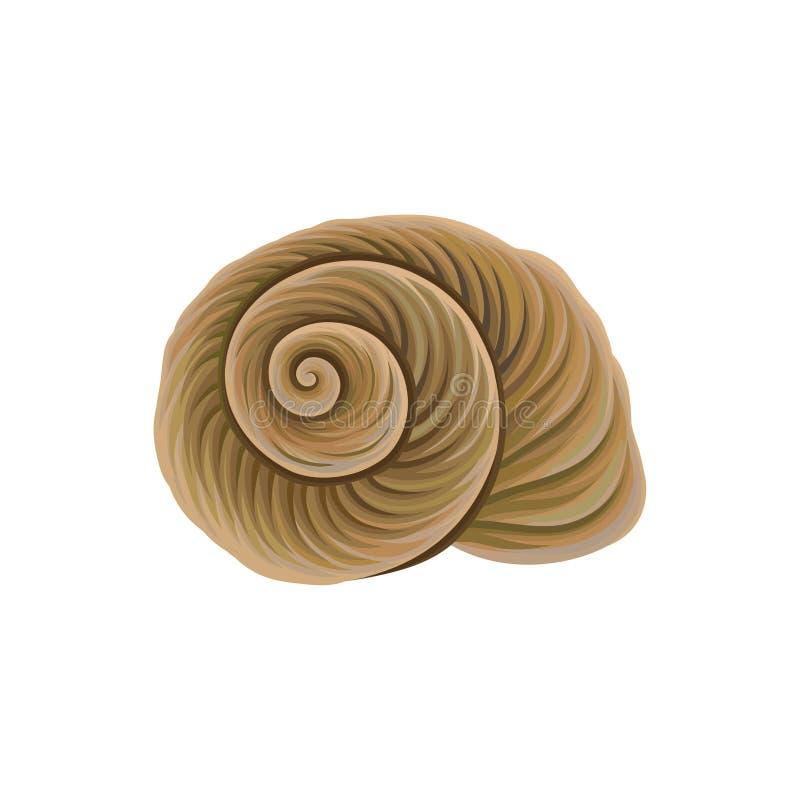 Spiraalvormig-gevormde shell van overzeese slak Marien thema Voorwerp van onderwaterwereld Gedetailleerd vectorelement voor de zo royalty-vrije illustratie