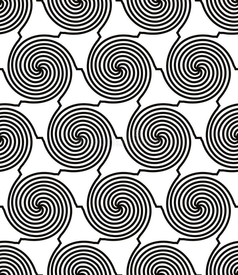 Spiraalvormig lijnen zwart-wit naadloos patroon royalty-vrije illustratie