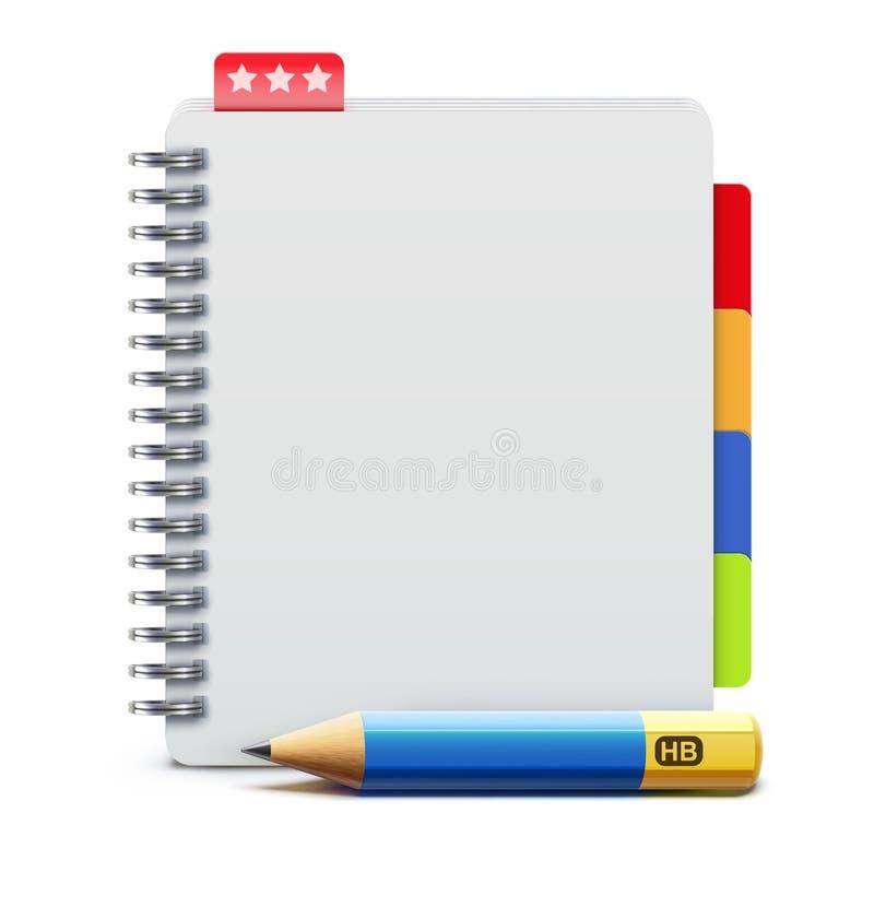 Spiraalvormig notitieboekje stock illustratie