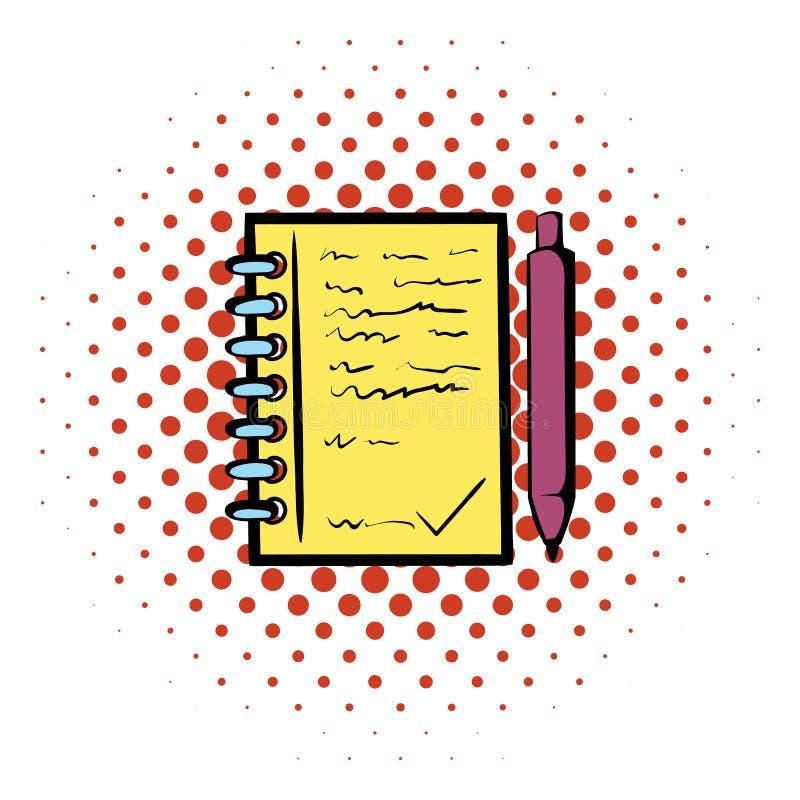 Spiraalvormig notitieboekje en ballpointpictogram royalty-vrije illustratie