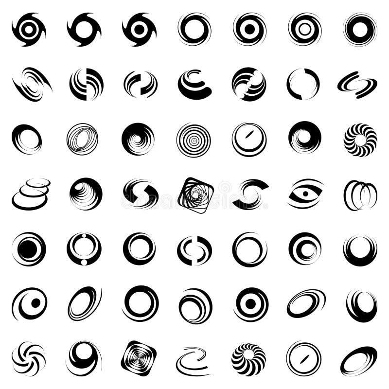 Spiraalvormige beweging en omwenteling. 49 ontwerpelementen. vector illustratie