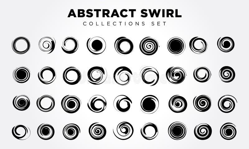 Spiraalvormige beweging en omwenteling Geplaatste de elementen van het ontwerp royalty-vrije illustratie