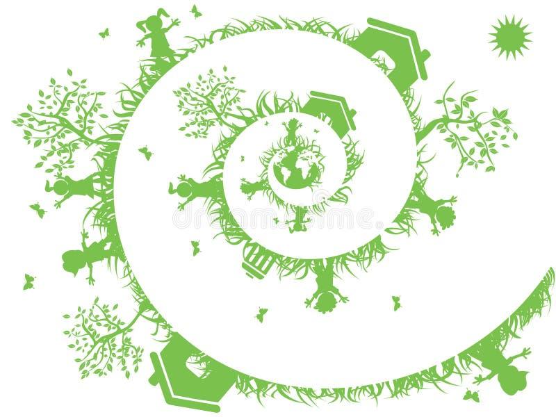 Spiraalvormige groen vector illustratie