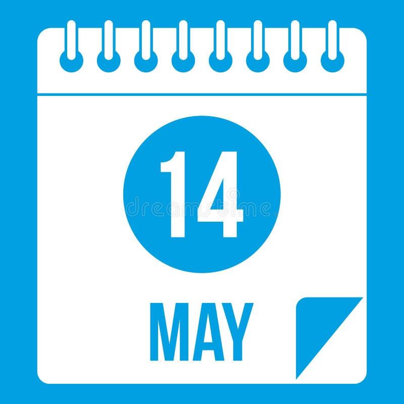Spiraalvormige kalenderpagina veertiende van Mei-pictogramwit vector illustratie