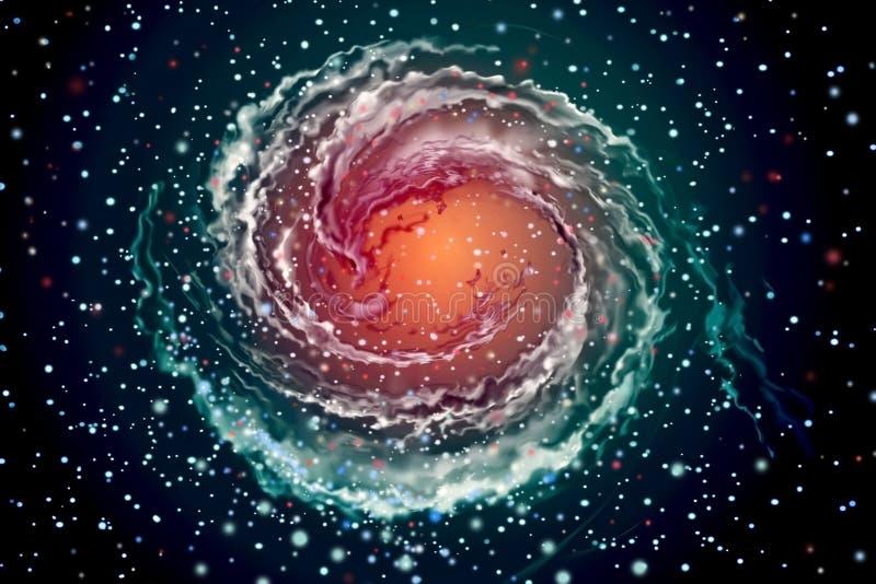 Spiraalvormige melkweg in kosmische ruimten vector illustratie
