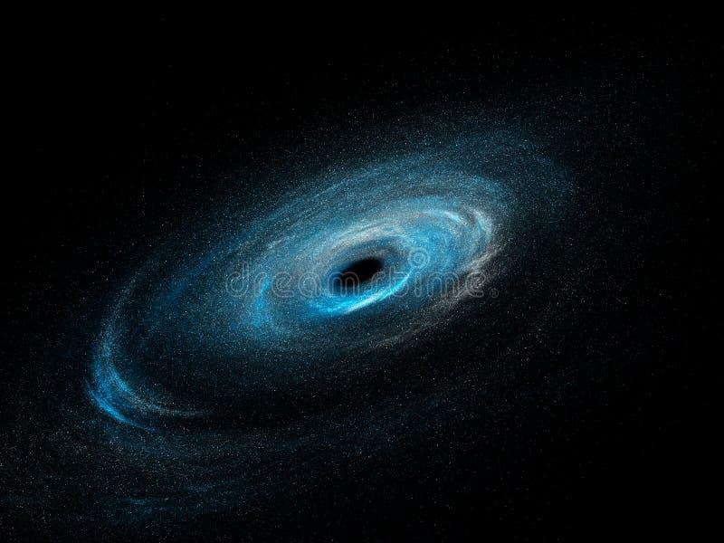 Spiraalvormige melkweg met sterren en zwart gat stock illustratie