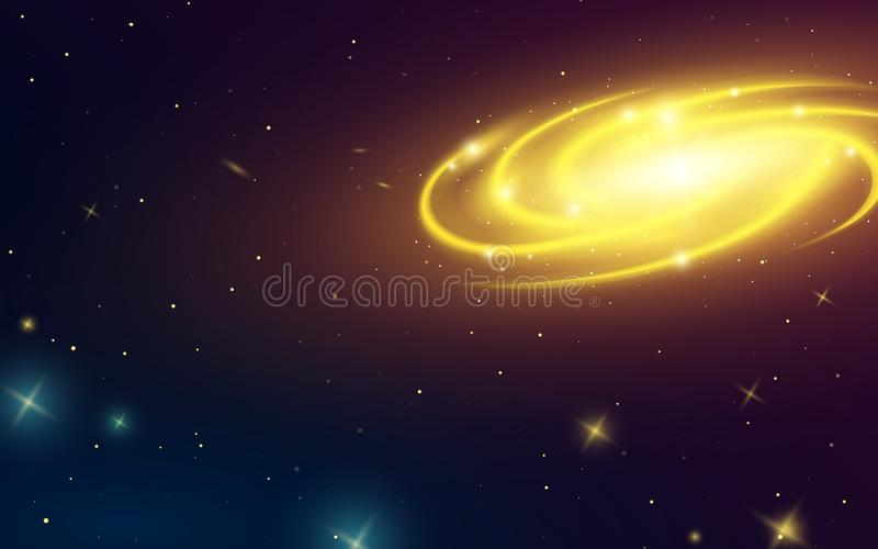 Spiraalvormige melkweg in ruimte, illustratie van Melkweg Planeten in zonnestelsel sterren in dark Astronomische kaart royalty-vrije illustratie