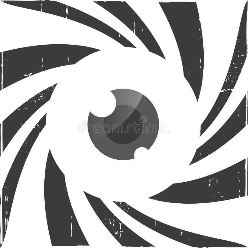 Spiraalvormige optische illusie met oog vector illustratie
