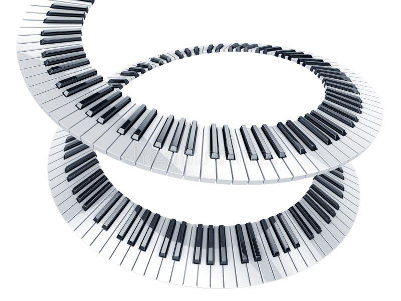 Spiraalvormige pianosleutels stock illustratie