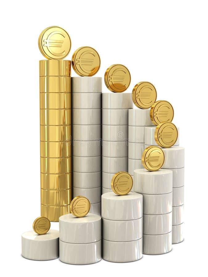 Spiraalvormige treden en gouden euro muntstukken stock illustratie