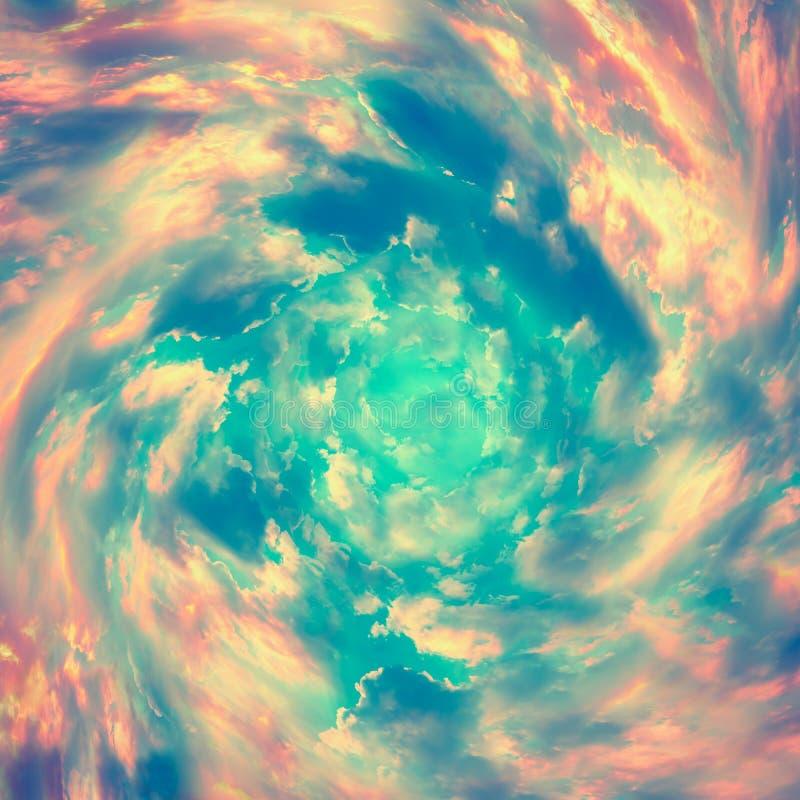 Spiraalvormige tunnel van wolken Heldere kleurrijke sprookje vierkante achtergrond Het abstracte concept van de textuurhemel Gest stock foto