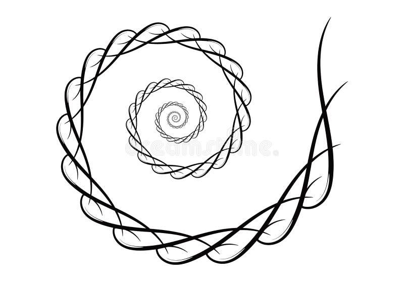 Spiraalvormige vectorontwerpelementen Abstracte zwart-witte lijnen Wervelingsachtergrond vector illustratie