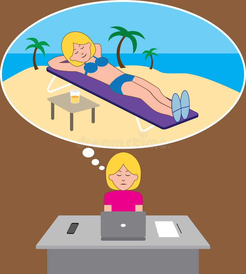 Tropical Vacation Daydream 2. A young woman is working at her desk while daydreaming about a tropical vacation vector illustration