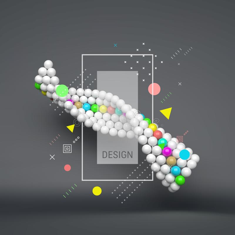 Free Spiral. 3d Abstract Spheres Composition. Futuristic Technology Style. Vector Illustration For Science Stock Image - 132931541