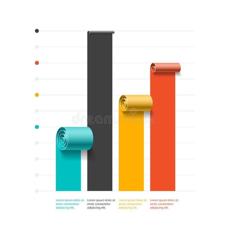 Spiral affärsgraf, mall för stångdiagram, infographicsbeståndsdel stock illustrationer