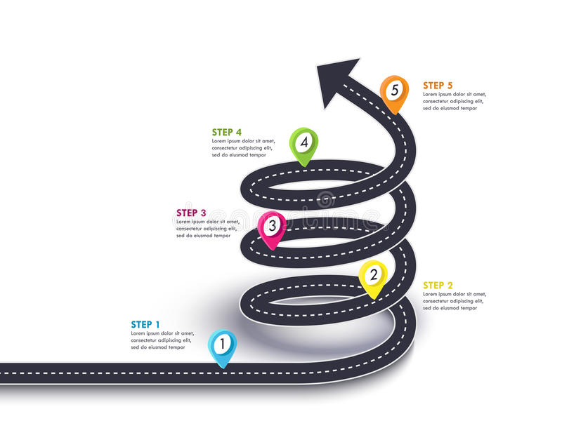 Spiral Arrow Road to Success. Road trip and Journey route with pin pointer and place for your data. royalty free illustration
