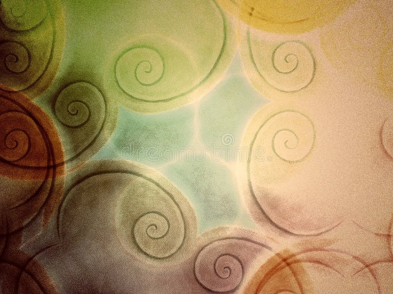 Spiral Art Pattern on Canvas. An abstract hand painted texture pattern of colorful swirls on canvas