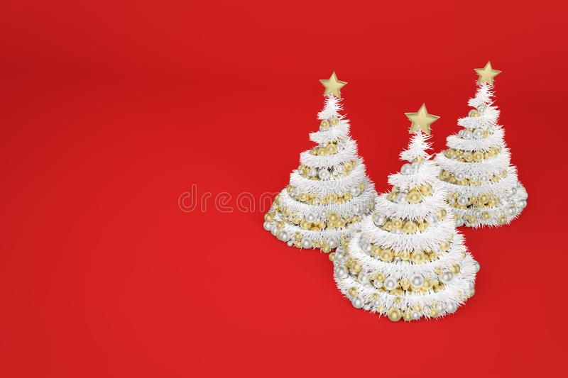 Spiral artificial Christmas trees 3d color illustration stock photos