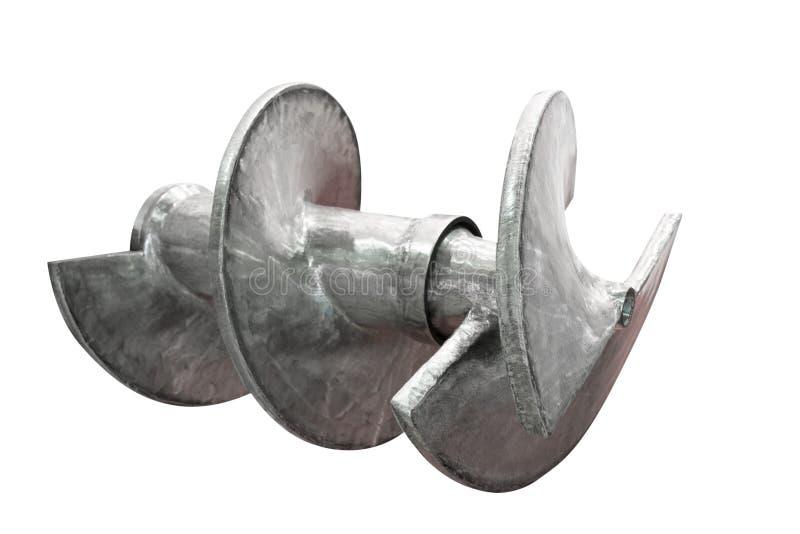 Spiral av den Archimedes skruvflyttkarlen, industriellt maskineri som isoleras på vit bakgrund arkivbilder