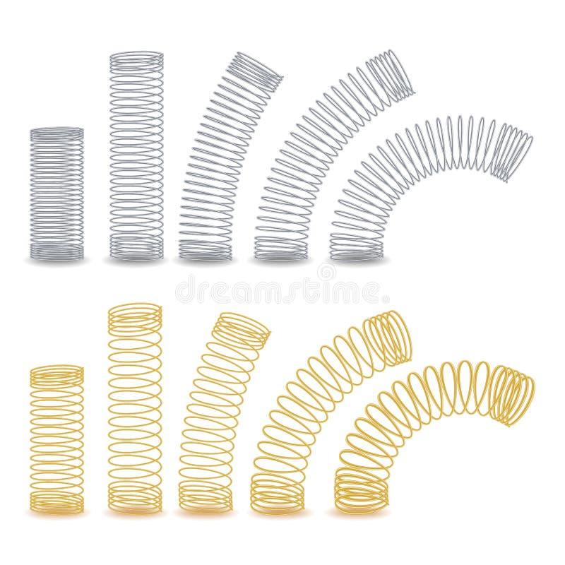 Spiral böjlig tråd Metallspiralvår Vektor isolerad illustration vektor illustrationer