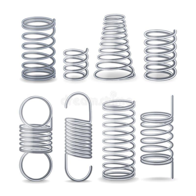 Spiral böjlig tråd Vårar av kompression, spänning och vridning Fastställda elastiska delar för metalltråd Böjlig spiral för olika vektor illustrationer