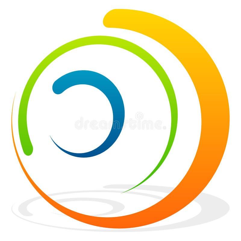 Spiral beståndsdel med koncentriska cirklar Abstrakt dekorativ elem royaltyfri illustrationer