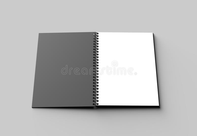 Spiral binder notebook mock up with black cover isolated on soft. Gray background. 3D illustrating stock illustration