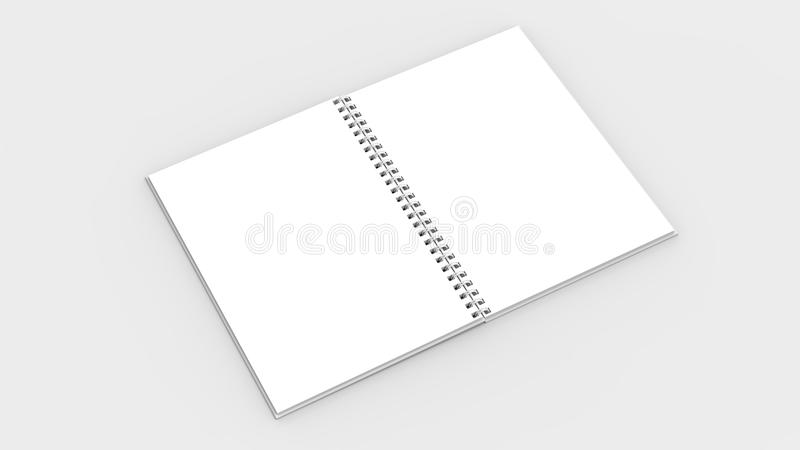 Spiral binder notebook mock up isolated on soft gray background. 3D illustrating stock illustration