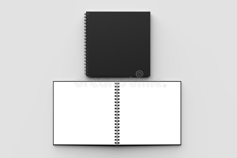 Spiral binder square notebook mock up with black cover isolated. On soft gray background. 3D illustration vector illustration